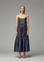 Sies Marjan Women's Brianna Embossed Satin Maxi Dress in Dark Navy Size XS
