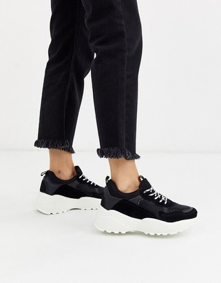 Ichi chunky faux suede platform trainers