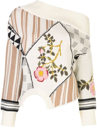 Monse Upside Down Floral Intarsia Patch Jumper