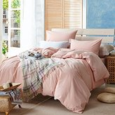 TheFit Paisley Textile Bedding for Adult U621 Pink Classic Duvet Cover Set 100% Washed Cotton, Twin Queen King Set, 3-4 Pieces (King)