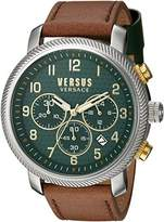 Versus By Versace Men's 'HOXTON SQUARE' Quartz Stainless Steel and Leather Casual Watch, Color:Brown (Model: S70040016)