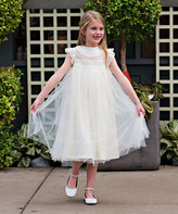 Couture Just Girls' Special Occasion Dresses - Ivory Ruffle Magnolia Angel-Sleeve Dress - Toddler & Girls