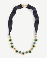 Ann Taylor Pleated Floral Ribbon Necklace