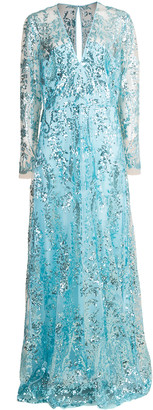 Naeem Khan Aqua Long Sleeve Paillette Embroidered Gown