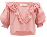 Innika Choo Anita Eayte Ruffled Cotton Blouse - Womens - Light Pink