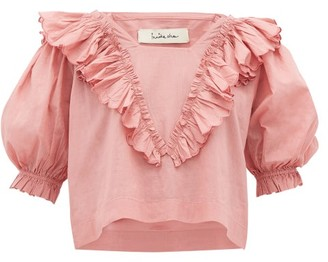 Innika Choo Anita Eayte Ruffled Cotton Blouse - Light Pink