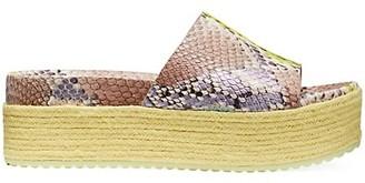 Kate Spade Zia Snakeskin-Embossed Leather Espadrille Flatform Sandals