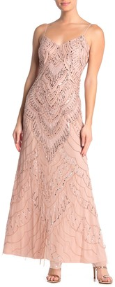 Jump Slim Sequin Beaded Sleeveless Gown