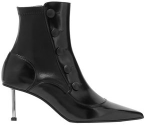 Alexander McQueen Button-embellished Stretch Glossed-leaher Ankle Boots
