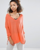 Subtle Luxury Cashmere Essential V-Neck Reversible Sweater In Orange