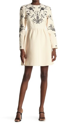 Valentino Embroidered Long Sleeve Wool Blend Dress