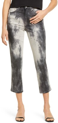 Topshop Tie Dye Straight Leg Jeans