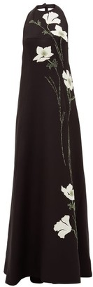 Valentino Halterneck Floral-applique Wool-blend Gown - Black