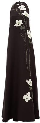 Valentino Halterneck Floral-applique Wool-blend Gown - Womens - Black