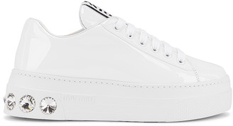 Miu Miu Jewel Low Top Sneakers in White | FWRD