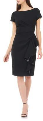 Carmen Marc Valvo Sequin Ruffle Short Sleeve Crepe Cocktail Dress
