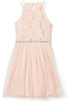 Speechless Blush Lace-Accent A-Line Dress - Girls