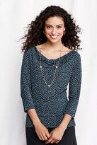 Lands' End Women's 3/4-sleeve Print Matte Jersey Drapeneck Top