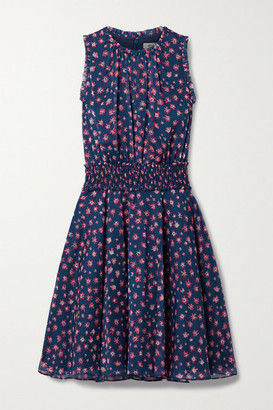 Jason Wu Shirred Floral-print Chiffon Dress - Navy