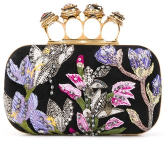 Alexander McQueen Floral-Embroidered 4-Ring Clutch