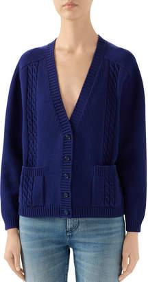 Gucci Long-Sleeve V-neck Cropped Cardigan