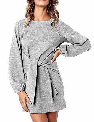 Leezepro Women Jumper Dress Knitted Dress Solid Color Long Sleeve Casual Tunic T-Shirt Dress with Tie Waist (M