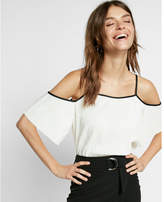 Express solid cold shoulder pleated tee