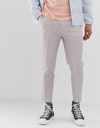 Asos Design DESIGN skinny crop pants in white linen with stripe