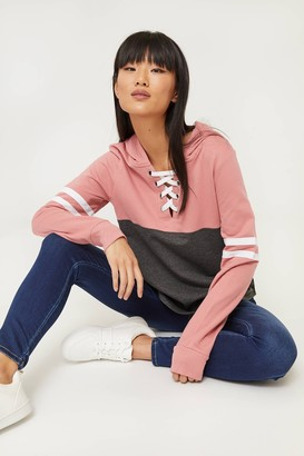Ardene Lace-Up Color Block Hoodie