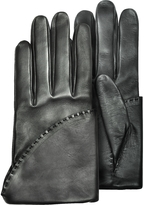 Pineider Women's Black Short Nappa Gloves w/ Silk Lining