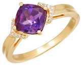 Lord & Taylor Amethyst, Diamond and 14K Yellow Gold Ring