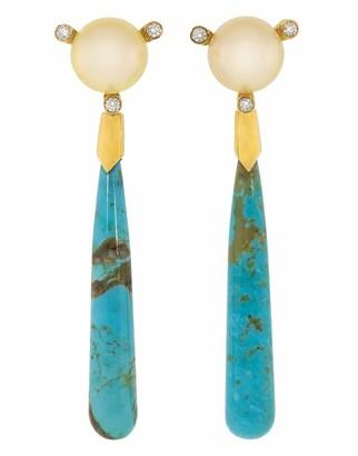 GUITA M Turquoise Drop South Sea Pearl and Diamond Earrings