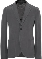 Giorgio Armani Grey Tokyo Slim-Fit Slub Linen and Mulberry Silk-Blend Blazer