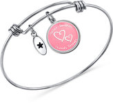 Unwritten Friends Forever Pink Disc Bangle Bracelet in Stainless Steel and Silver-Plate