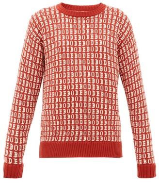 Bode Signature Logo-jacquard Wool Sweater - Red
