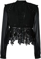 Self-Portrait lace detail blouse - women - Polyester - 12