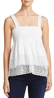 Tory Burch Georgette Eyelet Embroidered Top