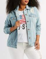Charlotte Russe Plus Size Destroyed Denim Boyfriend Jacket