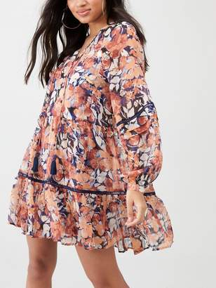 River Island Printed Ruffle Smock Dress - Pink