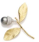 Gump's Aaron Henry Tahitian Pearl Acorn Brooch