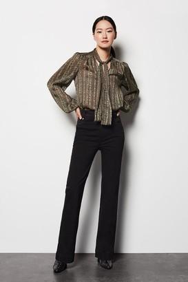 Karen Millen Black Button Flare Jeans