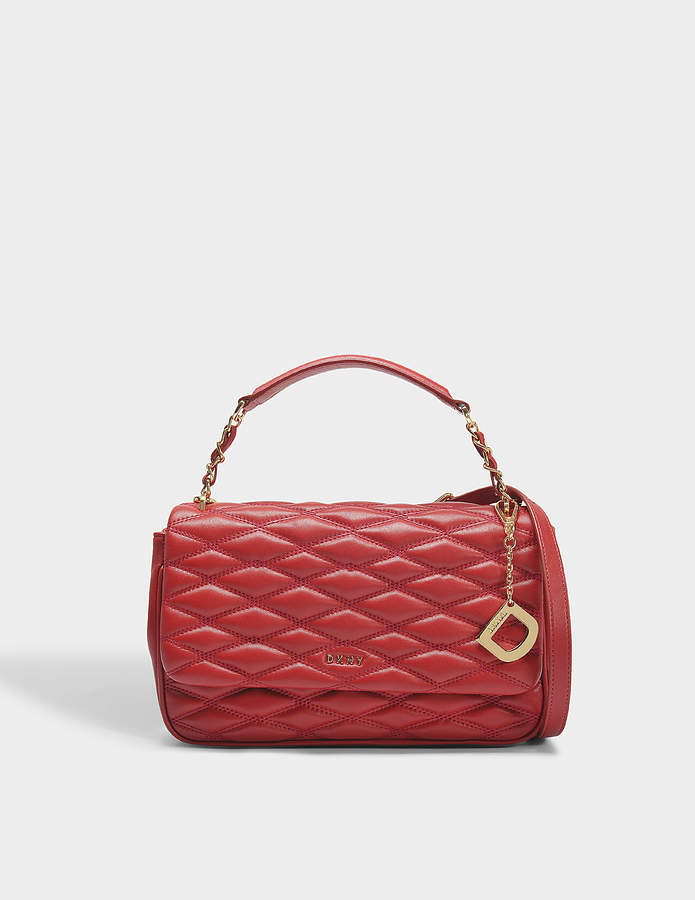 DKNY Diamond Quilted Medium Flap Shoulder Bag in Scarlet Quilted Lamb Nappa Leather