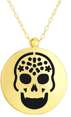 Sphera Milano 14K Italian Gold Black Onyx Skull Necklace