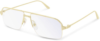 Cartier Santos De Rectangular-Frame Gold-Tone Optical Glasses