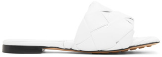 Bottega Veneta White Intrecciato Lido Flat Sandals