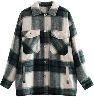 Kekison Women's Check Shirt Long Sleeve Boyfriend Plaid Button Down Flannel Check Shirt Blouse Tops