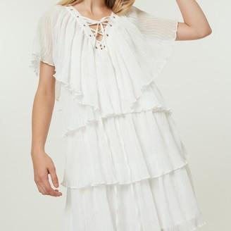 Jovonna London White Cascade2 Dress with Ruffles - extra small