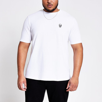 River Island White embroidered slim fit T-shirt