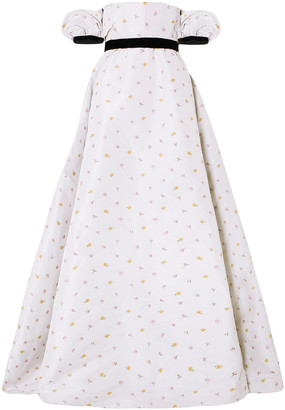 Philosophy di Lorenzo Serafini Off-the-shoulder Velvet-trimmed Floral-jacquard Gown