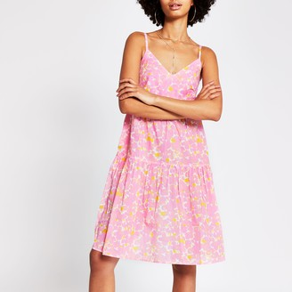 River Island Womens Pink sleeveless ladder trim smock dress